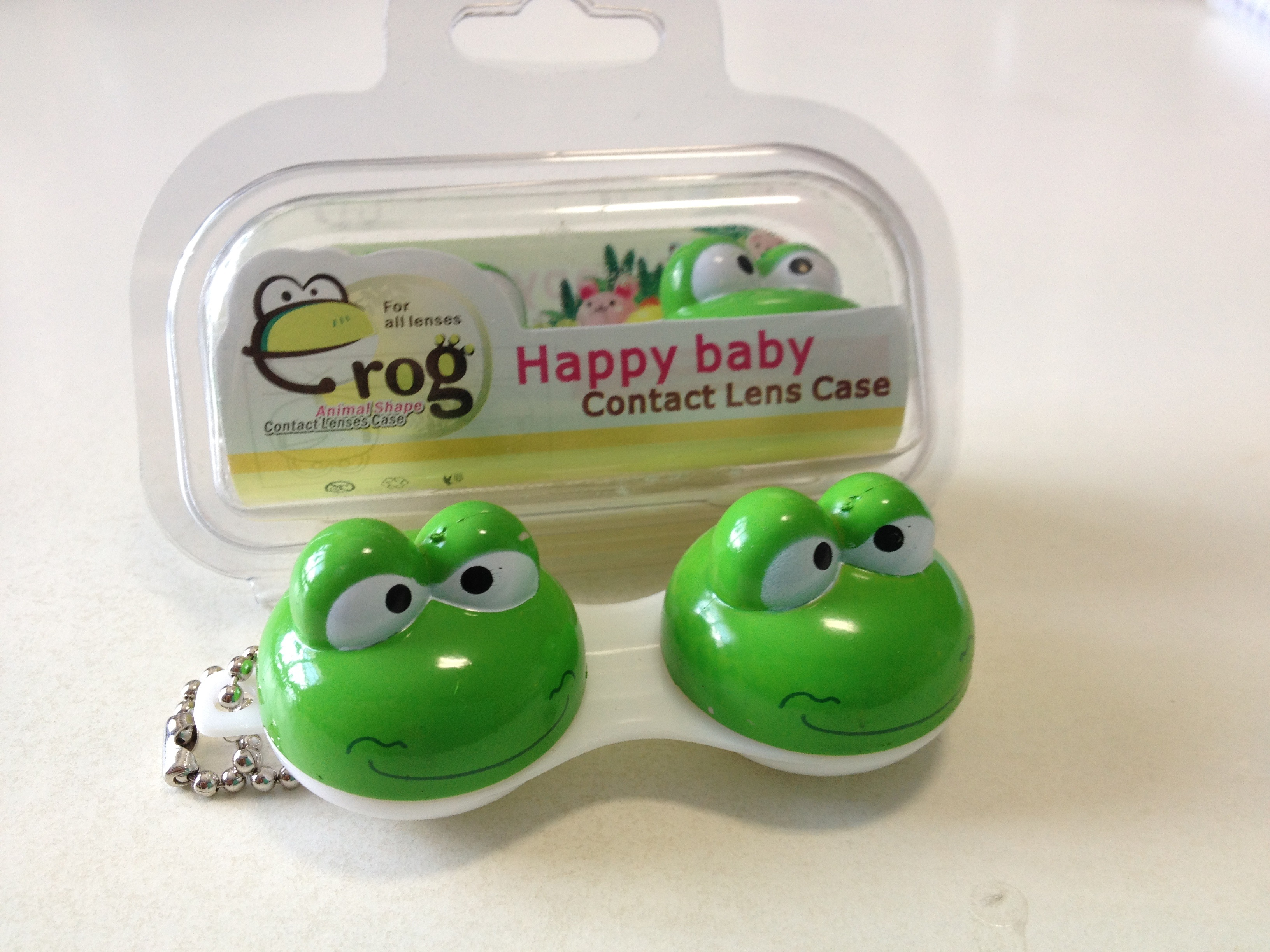 Happy Cute Green Frog Contact Lens Case